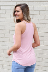 Model wearing the Jersey Knit Cami Tank in Blush Back View