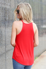 Model wearing the Jersey Knit Cami Tank in Red Back View