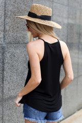 Model wearing the Jersey Knit Cami Tank in Black Back View
