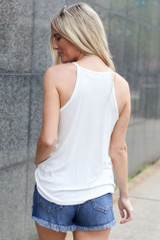 Model wearing the Jersey Knit Cami Tank in White Back View