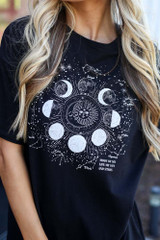 Black - close up moon graphic t-shirt