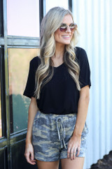 lounge shorts styled with basic black t-shirts