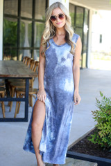 affordable blue tie-dye maxi dress at dress up