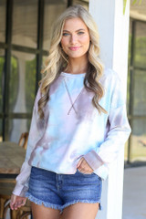 Pink - oversized tie-dye pullover