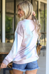 back view oversized tie-dye pullover