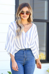 Blue - striped blouse