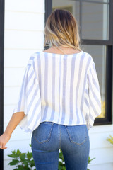 back view striped surplice blouse at dress up