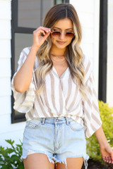 taupe striped surplice top