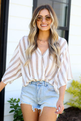 Taupe - cute striped summer blouse