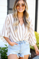cute taupe surplice top