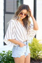 Taupe - mid-crop striped top