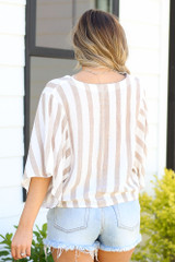 back view striped surplice top at dress up