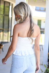 back view cute tube top in white