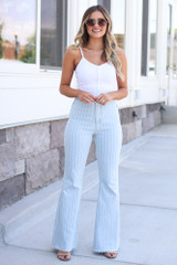 Light Wash - high rise pinstripe flare jeans