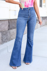 bell bottom jeans at dress up close up