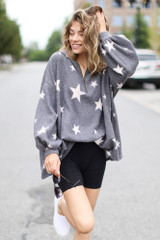 Charcoal - Oversized Star Hoodie from Dress Up