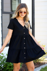 Black Ruffle Dress With Buttons side view