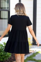 Black Ruffle Dress With Buttons back view