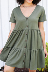 Close Up of the Tiered Babydoll Dress in Olive