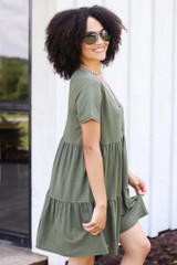 Tiered Babydoll Dress in Olive Side View