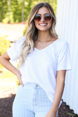 White - soft and stretchy longline tee