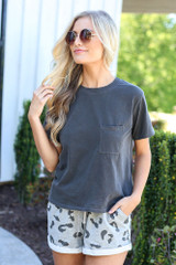 cute oversized tee with lounge shorts at dress up