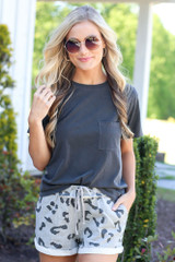 Heather Grey - cute lounge shorts styled with oversized tee