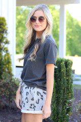 side view leopard lounge shorts in heather grey
