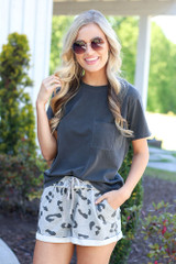 leopard lounge shorts and charcoal oversized tee