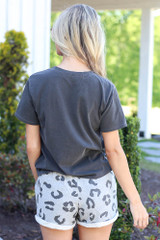 back view leopard lounge shorts