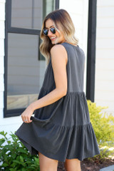 cute charcoal tiered dress
