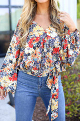 close up floral wrap blouse