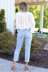 back view distressed mom jeans