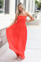 Red - Front Tie Pleated Maxi Dress in Red Front View