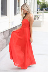 Front Tie Pleated Maxi Dress in Red Side View