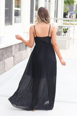 Front Tie Pleated Maxi Dress in Black Back View