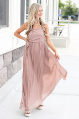 Taupe - Model wearing the Front Tie Pleated Maxi Dress with nude heels