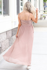 Front Tie Pleated Maxi Dress in Taupe Back View