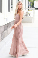 Front Tie Pleated Maxi Dress in Taupe Side View