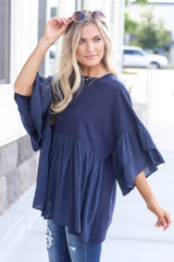 side view tiered sleeve babydoll top