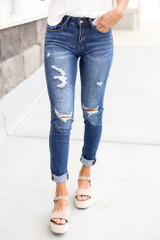 Dark Wash - Mid-Rise Distressed Skinny Jeans from Dress Up Boutique