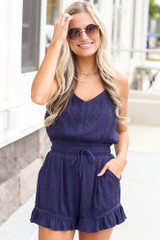 Navy - cheap romper at dress up boutique