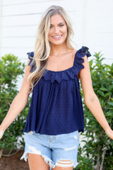 Navy - babydoll top with eyelet lace trim