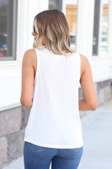 back view scoop neck tank in white