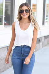 cute scoop neck tank in white