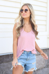 Blush - cute tank top with distressed denim shorts