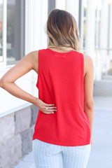 back view cute red tank top