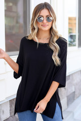 Black - soft knit oversized tee