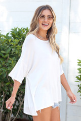side view cute oversized soft knit tee