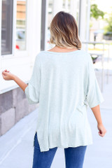 back view soft knit t-shirt in mint